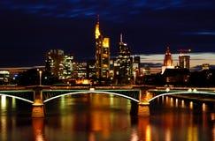 Night View of Frankfurt Skyline Royalty Free Stock Photos
