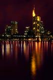 Night View of Frankfurt Skyline Stock Photo