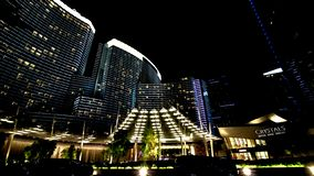 Night view from the front of Aria Resort stock image