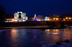 Night view of frozen Uzh river, Uzhgorod,winter time, Ukraine Stock Photography