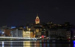 Night view of Galata bridge and Galata Tower. Royalty Free Stock Photo