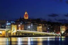 Night view of Galata bridge and Galata Tower. Night view of Galata bridge and Galata Tower Royalty Free Stock Photography