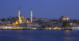 Night view of Galata bridge and mosque Yeni camii Royalty Free Stock Images