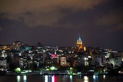 Night view of Galata district Stock Images