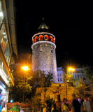 Night view of the Galata Tower in Istanbul royalty free stock images