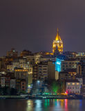 Night view of Galata Tower, Istanbul, Turkey. The Galata Tower is a medieval stone tower in the Galata/Karakoy quarter of Istanbul, Turkey, just to the north of stock photo