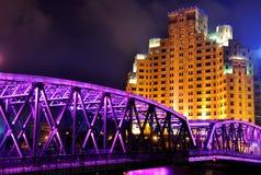 Night view of Garden Bridge of Shanghai, China stock photo
