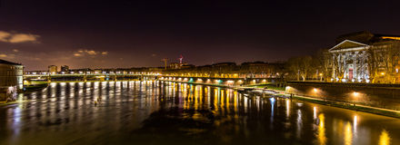 Night view of the Garonne river in Toulouse Stock Images