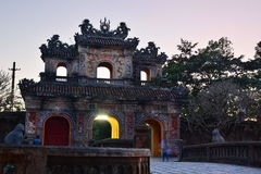 Night view of the gate. Imperial City. Hué. Vietnam Royalty Free Stock Photo