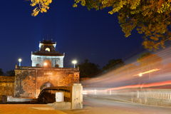 Night view of the gate. Imperial City. Hué. Vietnam Royalty Free Stock Image