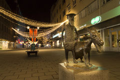 Night view of Gavle central entrance Stock Images