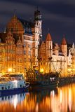 Night view of Gdansk harbor and Motlawa river, located in the Old Town of Gdansk city, Poland royalty free stock image