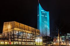 Night view of Gewandhaus. A concert hall, the home of the Leipzig Gewandhaus Orchestra and City-Hochhaus, 36-storey skyscraper the tallest building in Leipzig Royalty Free Stock Images