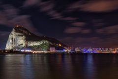 Night view on Gibraltar rock from Spanish town La Linea de la Concepcion. Night view on Gibraltar rock from Spanish town La Linea de la Concepcion Royalty Free Stock Photo