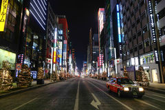 Night view of Ginza street in Tokyo, Japan Stock Photos