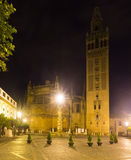 Night view of  Giralda tower. Seville, Spain Royalty Free Stock Photography