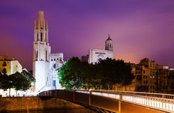 Night view of Girona. Catalonia, Spain Stock Photo