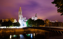 Night view of Girona -  Church of Sant Feliu and cathedral Stock Photography