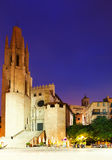 Night view of Girona -  Church of Sant Feliu Royalty Free Stock Photo
