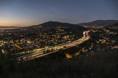 Night View of Glendale Freeway near Los Angeles California. Night view of the Glendale Freeway near Los Angeles, California Stock Photo
