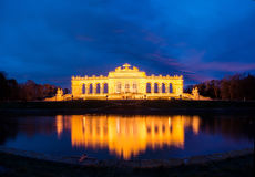 Night View on Gloriette structure in Schonbrunn Palace Stock Image