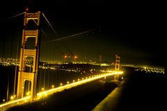 Night View of the Golden Gate Bridge. Night view of the lights and traffic making its way across the famous Golden Gate Bridge in San Francisco, California stock image
