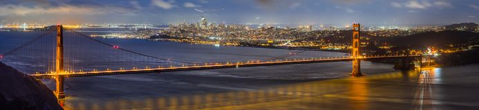 Night view of Golden Gate Bridge royalty free stock images