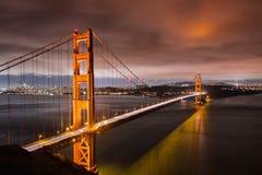 Night view of Golden Gate Bridge royalty free stock photo