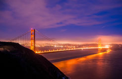 Night view of the Golden Gate Bridge, San Francisco California Stock Images