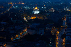 Night view of Golden mountain temple, landmark of Bangkok, Thail Royalty Free Stock Photo