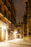 Night view of Gothic Quarter.  Barcelona Royalty Free Stock Images