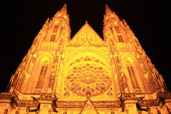 Night View on gothic St. Vitus' Cathedral on Prague Castle Royalty Free Stock Photos