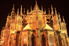 Night View on gothic St. Vitus' Cathedral on Prague Castle Stock Photography