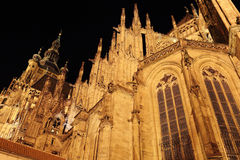 Night View on gothic St. Vitus' Cathedral on Prague Castle Stock Image