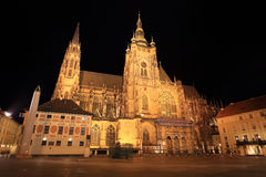 Night View on gothic St. Vitus' Cathedral on Prague Castle Stock Images
