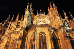 Night View on gothic St. Vitus' Cathedral on Prague Castle Stock Photo