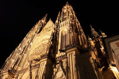 Night View on gothic St. Vitus' Cathedral on Prague Castle Royalty Free Stock Photo