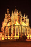 Night View on gothic St. Vitus' Cathedral on Prague Castle, Czech Republic Stock Image