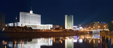 Night view of the Government building of the Russian Federation at the Moscow river. Panoramic view of the Moscow river, the Government building of the Russian royalty free stock photos