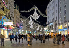 Night view of Graben street with Christmas chandeliers in Vienna, Austria Royalty Free Stock Photos