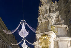 Night view of Graben street in Vienna Royalty Free Stock Photos
