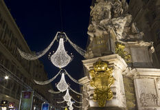 Night view of Graben street in Vienna during Christmas time,. VIENNA, AUSTRIA - JANUARY 1 2016: Night view of Graben street in Vienna during Christmas time, with Royalty Free Stock Images