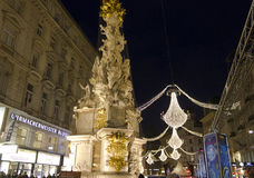 Night view of Graben street in Vienna during Christmas time. VIENNA, AUSTRIA - JANUARY 1 2016: Night view of Graben street in Vienna during Christmas time, with Royalty Free Stock Images