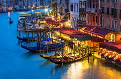Night view of Grand Canal with gondolas in Venice Stock Photography