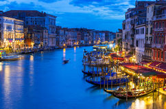 Night view of Grand Canal with gondolas in Venice Stock Images