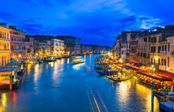 Night view of Grand Canal with gondolas in Venice Stock Photo