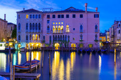 Night view of Grand Canal in Venice Stock Photos