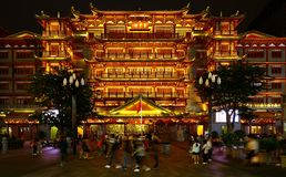 Night view of dafo temple or the grand buddha temple at guangzhou, china. Night view of the the grand facade of dafo or the grand buudha temple located near the stock photo