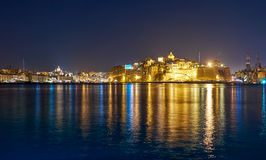 The night view of Grand Harbour and Senglea peninsula, Malta Royalty Free Stock Image
