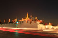Night view of Grand palace in Bangkok,Thailand. Stock Image